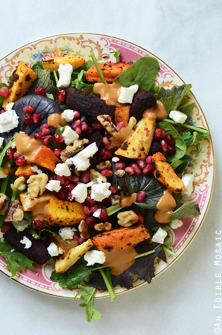 Harissa-Spiced Roasted Root Vegetable Medley Salad with Sweet-Spicy Date Vinaigrette 1