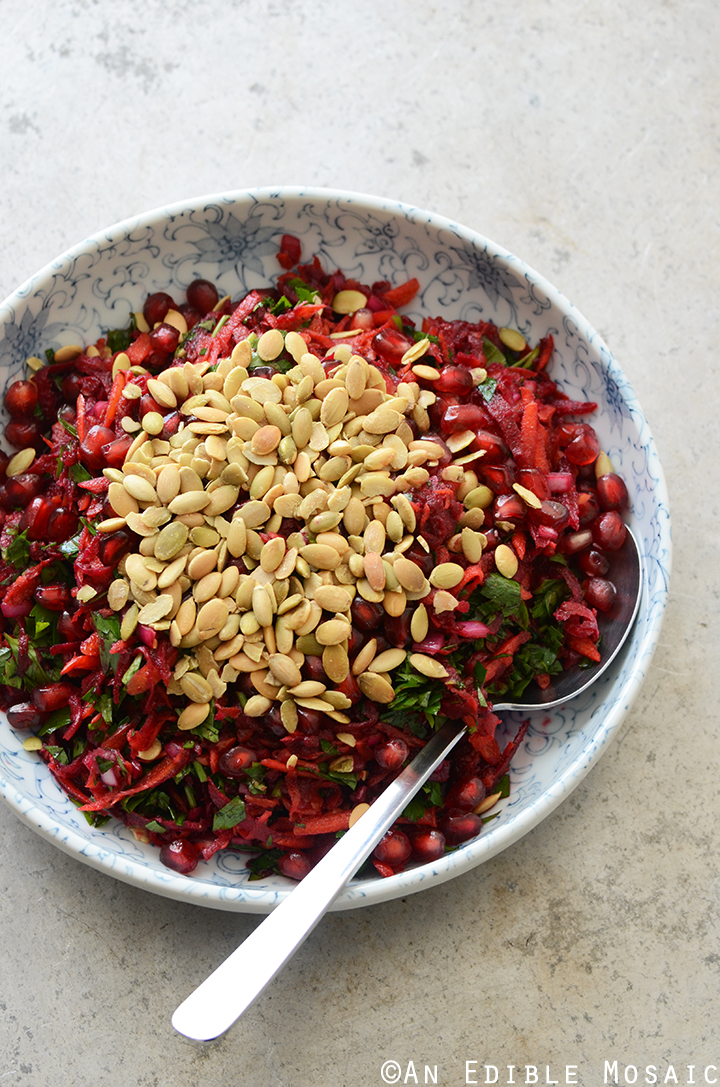 Beet and Carrot Salad with Pomegranate and Pumpkin Seeds