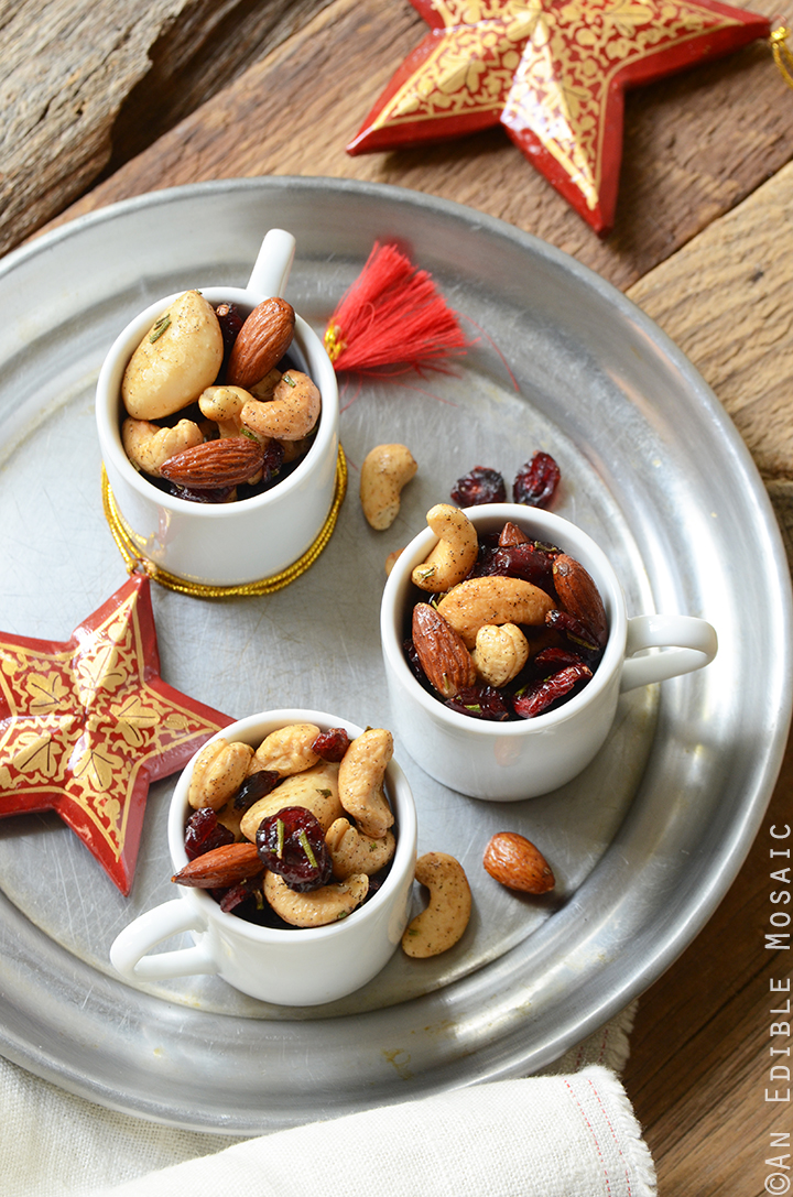 Festive Vanilla Bean Mixed Nuts with Rosemary and Cranberries 1