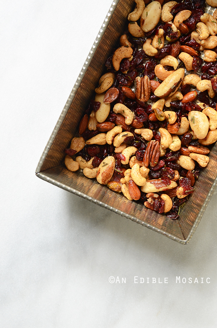 Festive Vanilla Bean Mixed Nuts with Rosemary and Cranberries on Tray