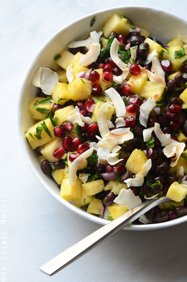 Pineapple Black Bean Salad with Pomegranate Arils and Coconut Chips {Vegan} 2