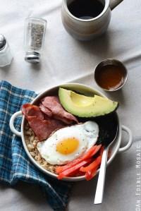 Savory Oatmeal Breakfast Bowls with Smoky Garlic Greens and Chipotle-Honey Vinaigrette