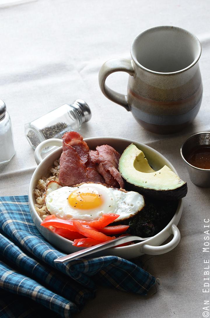 Savory Oatmeal Breakfast Bowls with Smoky Garlic Greens and Chipotle-Honey Vinaigrette 3