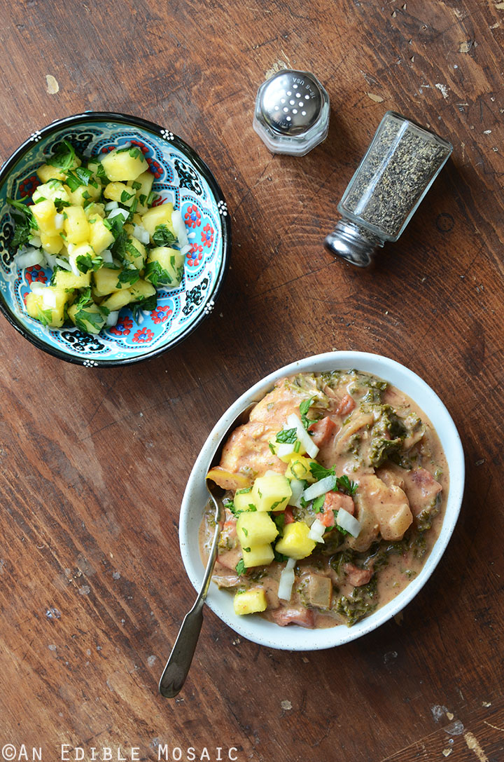 Almond Butter Chicken Stew with Pineapple-Mint Relish {Whole30} 1