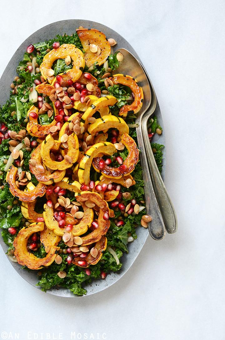 Detox Roasted Delicata Squash, Pardina Lentil, and Kale Salad with Maple-Pear Balsamic Vinaigrette {Vegan}