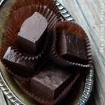 Protein Chocolate Fudge on Vintage Plate {Gluten-Free; Vegan}