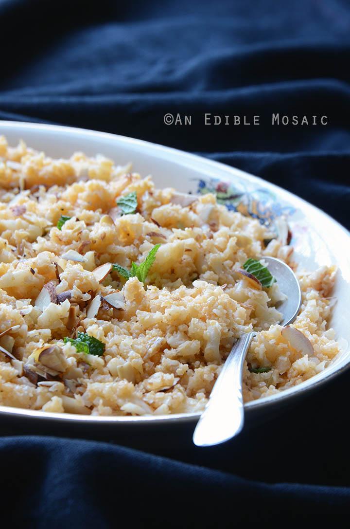 "Smoky Roasted Garlic Cauliflower ""Rice"" with Toasted Almonds {Paleo} 2"