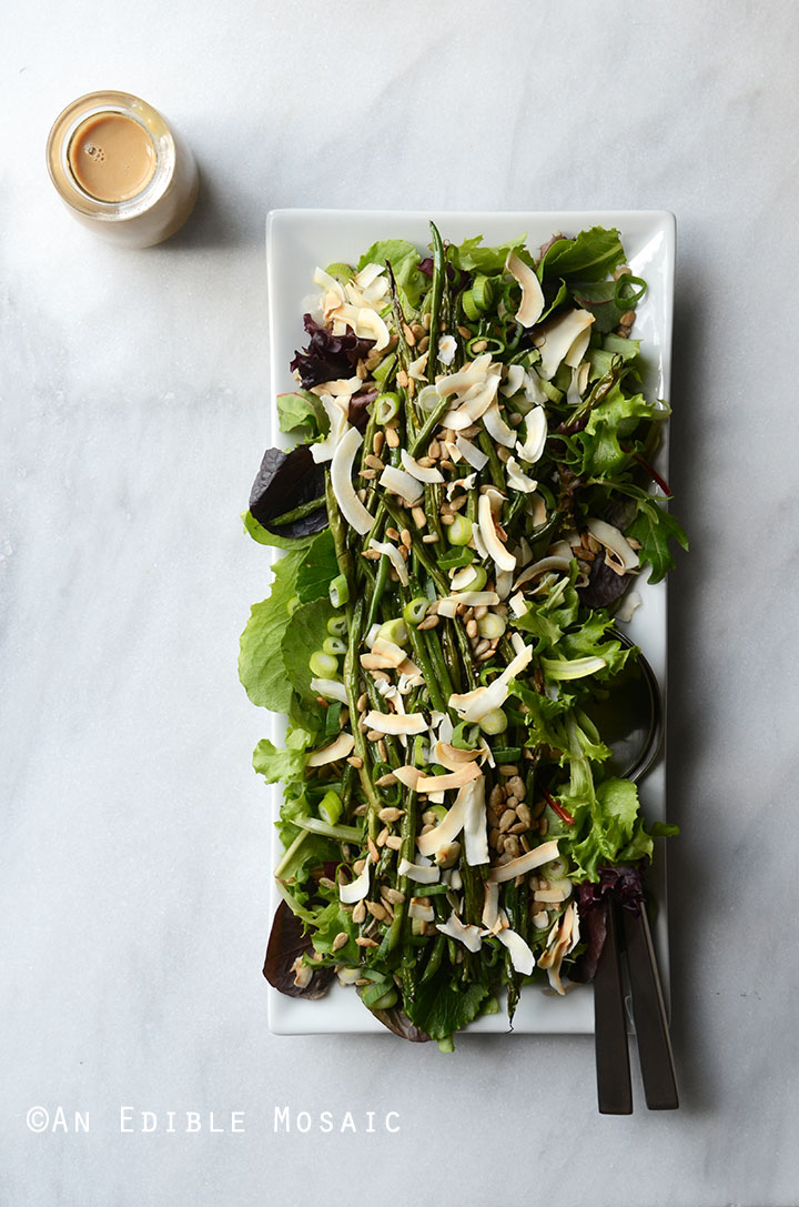 Spring Mix and Roasted Green Bean Salad with Creamy Maple-Miso Dressing 3