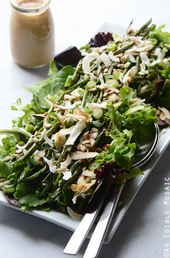 Spring Mix and Roasted Green Bean Salad with Creamy Maple-Miso Dressing 4