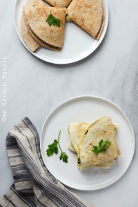 Cheesy Kale-Artichoke Quesadillas {Lactose-Free; Gluten-Free Option}