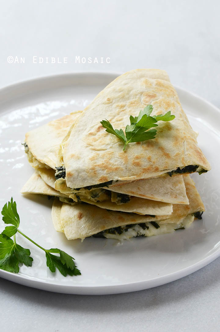 Cheesy Kale-Artichoke Quesadillas {Lactose-Free; Gluten-Free Option} 2