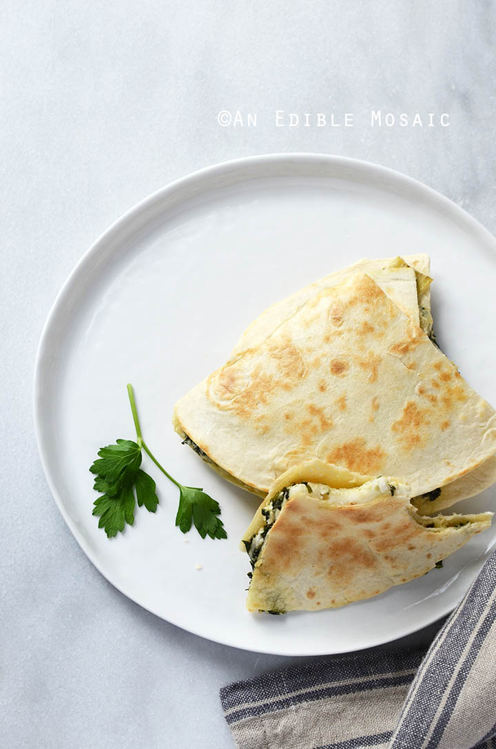 Cheesy Kale-Artichoke Quesadillas {Lactose-Free; Gluten-Free Option} 3