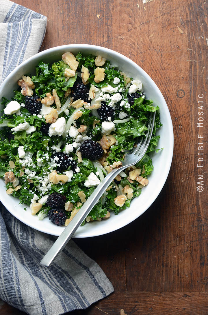 Blackberry and Toasted Walnut Kale Salad with Goat Cheese 1