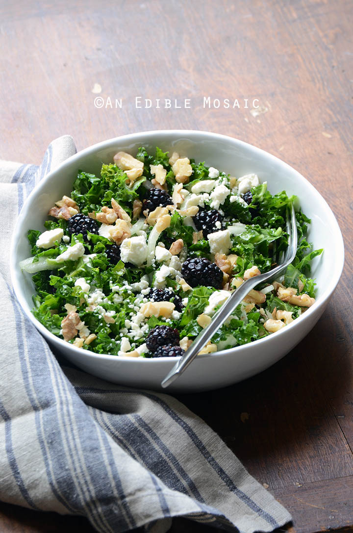 Blackberry and Toasted Walnut Kale Salad with Goat Cheese 4