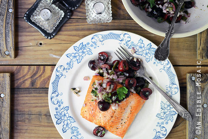 Seared Salmon with Fresh Cherry and Charred Poblano Chopped Salad {Paleo and Whole30} 3