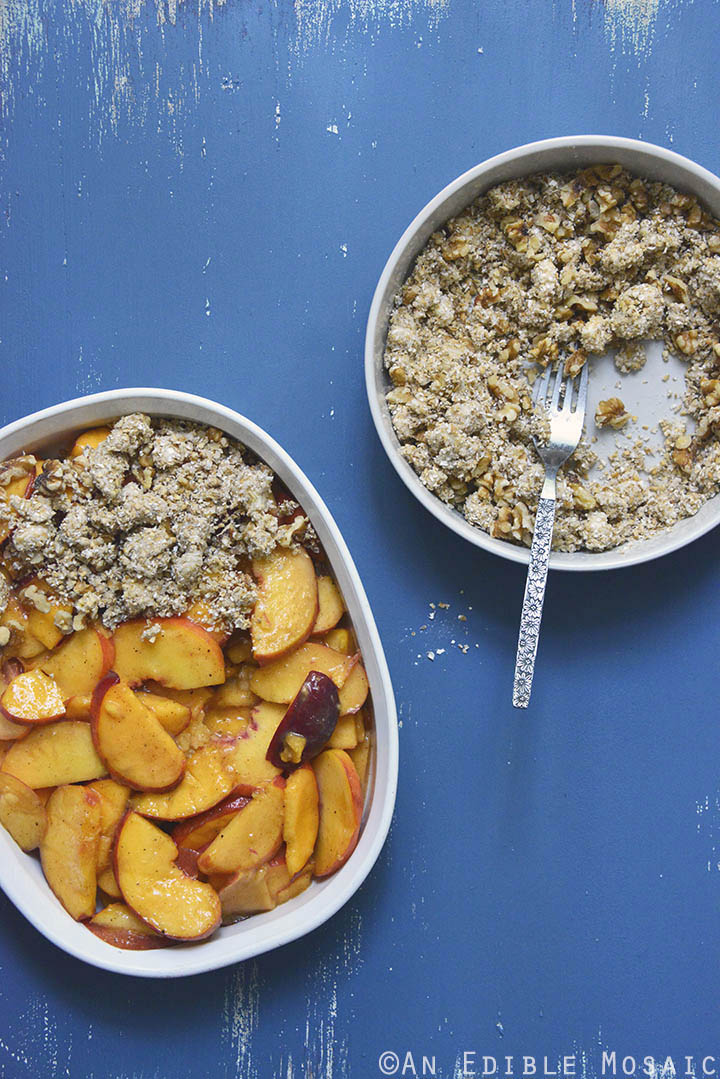 Spiced Maple Peach Oat Crisp Uncooked