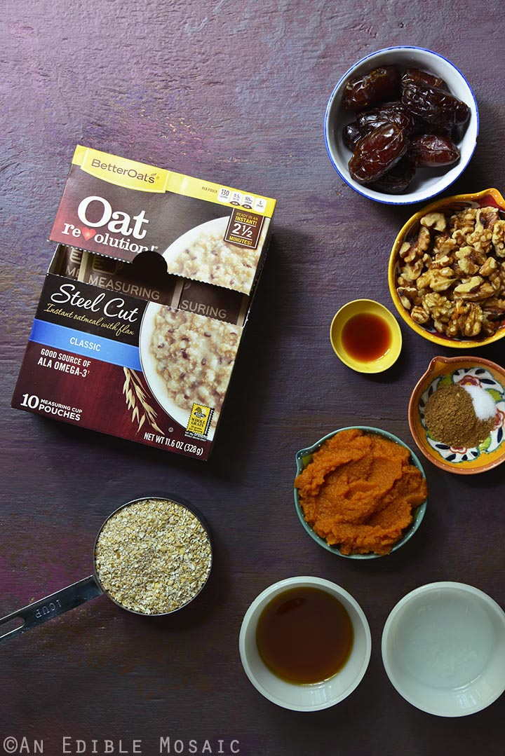 Pumpkin Spice Steel Cut Oat Bars Ingredients Mise en Place