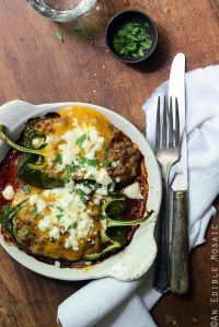 Cheesy Beef-Stuffed Poblano Peppers with Easy Roasted Tomato Chili Sauce {Freezer-Friendly}