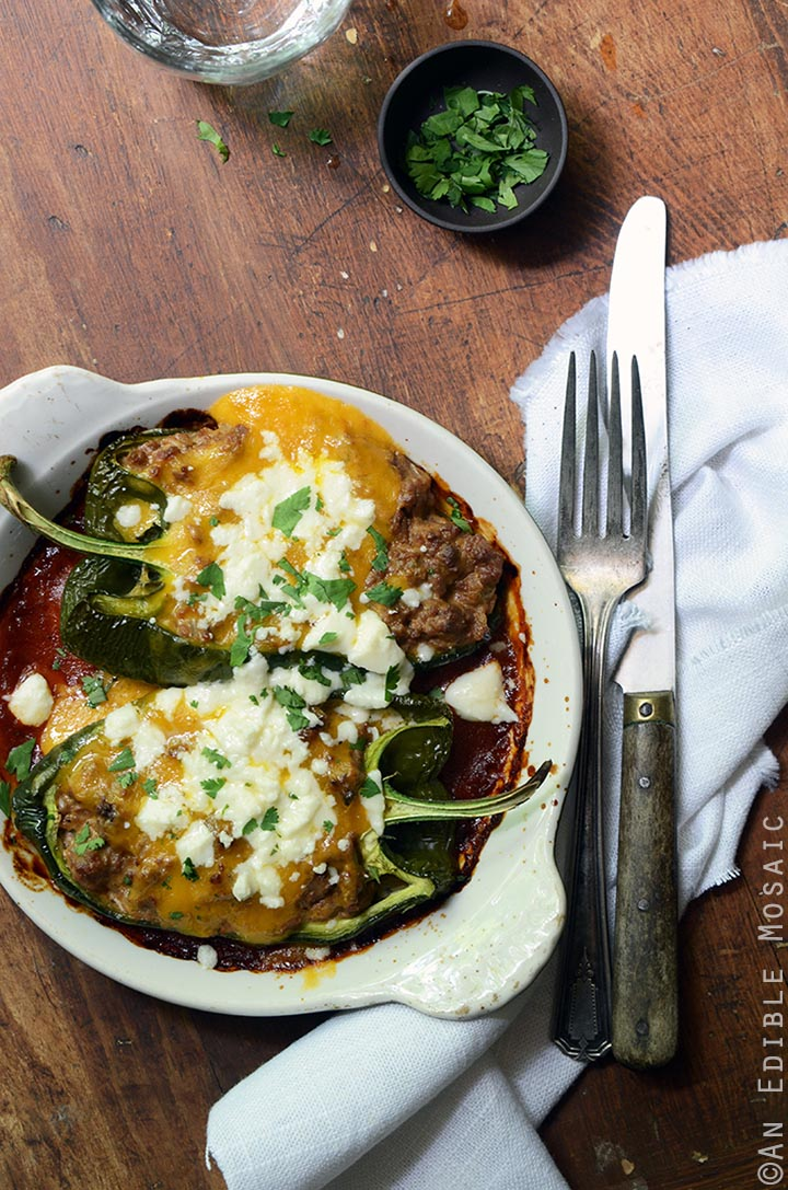 Cheesy Beef-Stuffed Poblano Peppers with Easy Roasted Tomato Chili Sauce 1