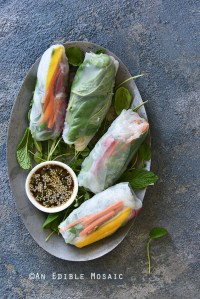 Summer Rolls with Watercress, Mango, and Mint with Sesame-Garlic-Ginger Dipping Sauce