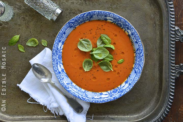Hot or Chilled Blushing Strawberry Onion and Tomato Soup on Metal Tray Overhead View Horizontal Orientation