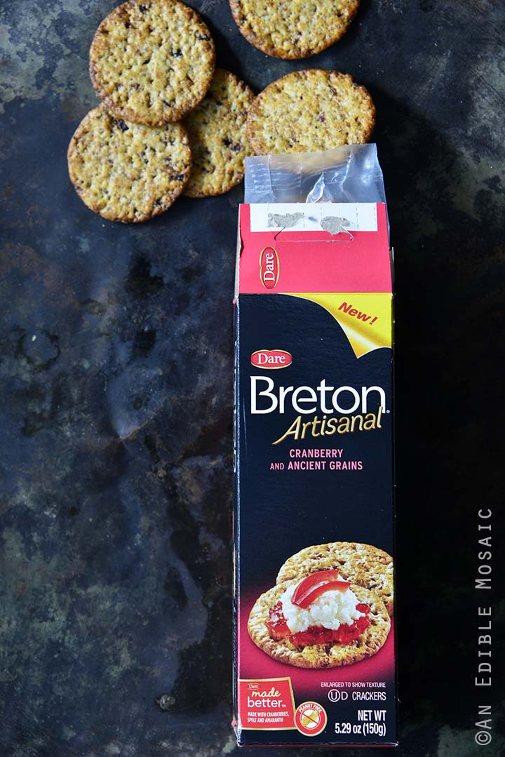 Breton Artisanal Crackers with Box on Metal Background