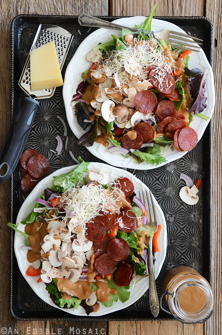 Pizza Salad with Pepperoni Chips