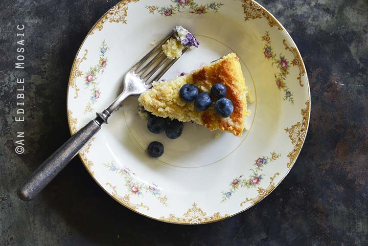 Crumble-Topped Blueberry Buttermilk Coffee Cake Metal Background Top View Horizontal Orientation