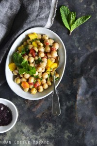 Sweet Pepper Chickpea Salad with Mint and Honey-Sumac Vinaigrette