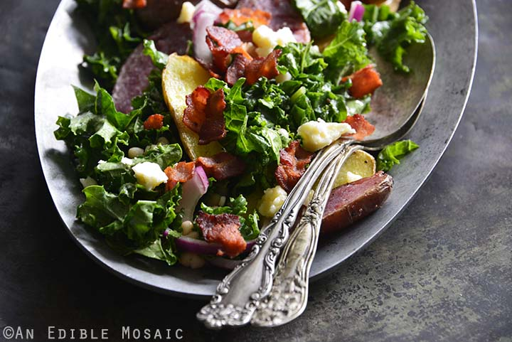 Kale Salad with Roasted Fingerling Potatoes, White Beans, and Warm Bacon Dressing Metal Background Front View Horizontal Orientation