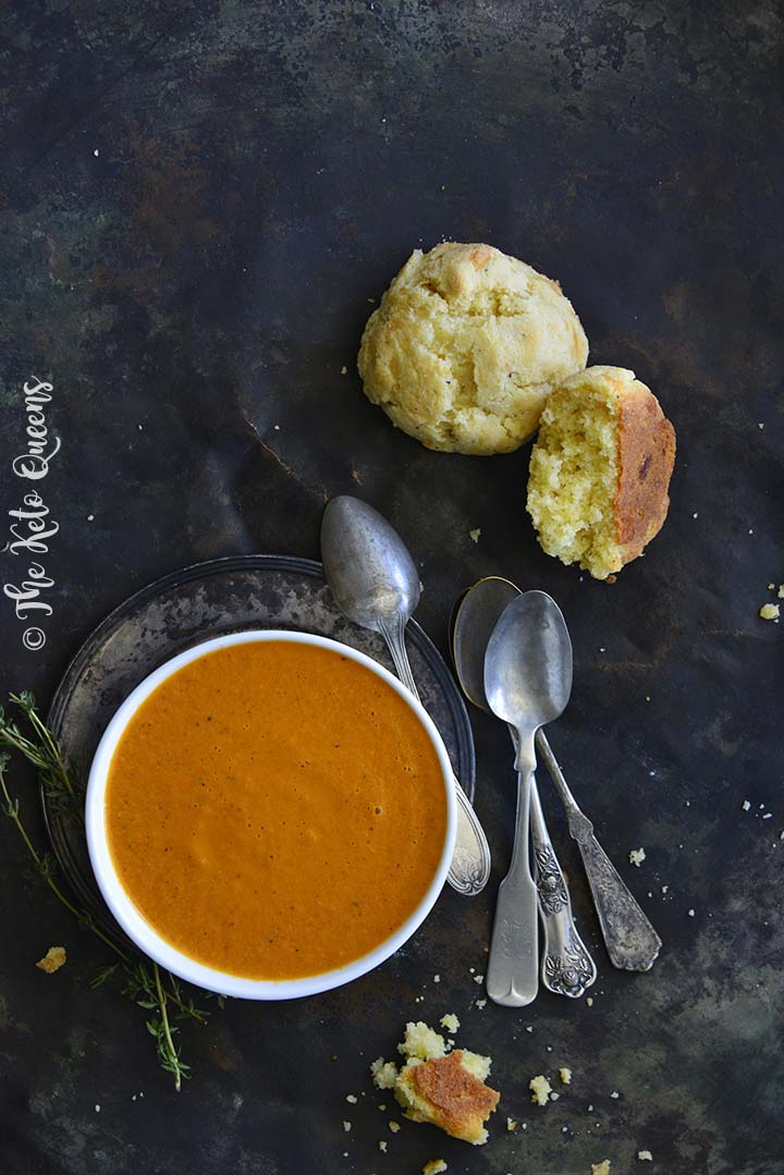 Keto Tomato Soup and Cheddar Biscuits
