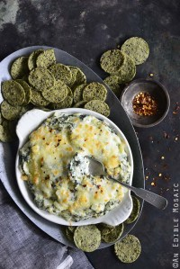 Warm Cheesy Garlic and Kale Dip with RW Garcia 3 Seed Kale Crackers