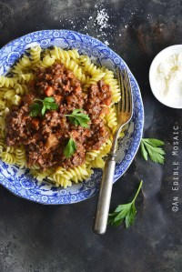30-Minute Beef Bolognese with Herbes de Provence and Red Wine with Pasta Top View Vertical Orientation