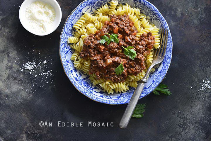 30-Minute Beef Bolognese with Herbes de Provence and Red Wine with Pasta Top View Horizontal Orientation
