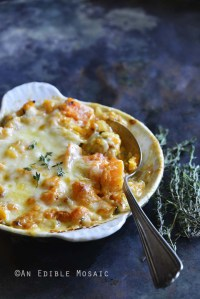 Cheddar and Thyme Butternut Squash Gratin Side View