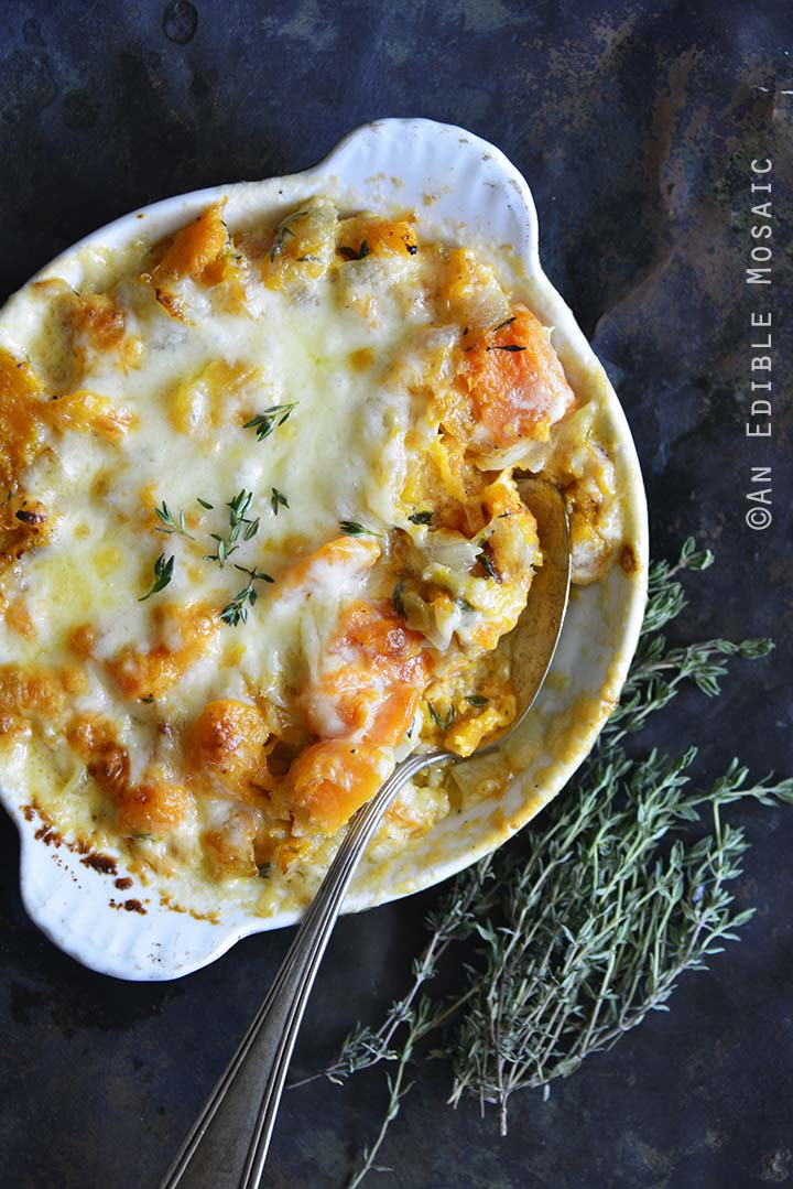 Cheddar and Thyme Butternut Squash Gratin Overhead View Close Up