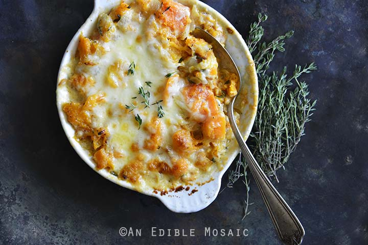 Cheddar and Thyme Butternut Squash Gratin Overhead View Horizontal Orientation