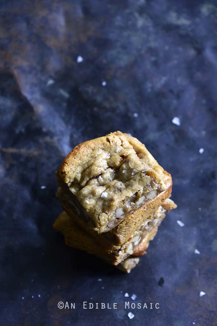 Stack of Flourless Pecan Pie Cashew Butter Blondies