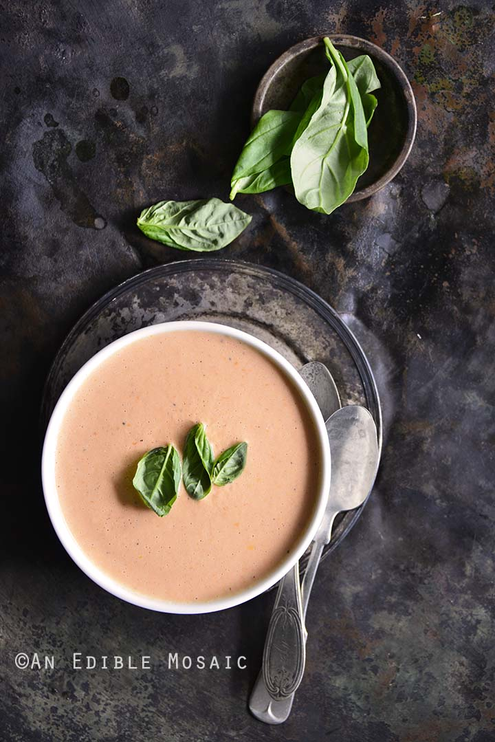 Low-Carb Cheesy Tomato Basil Chowder Overhead View Vertical Orientation