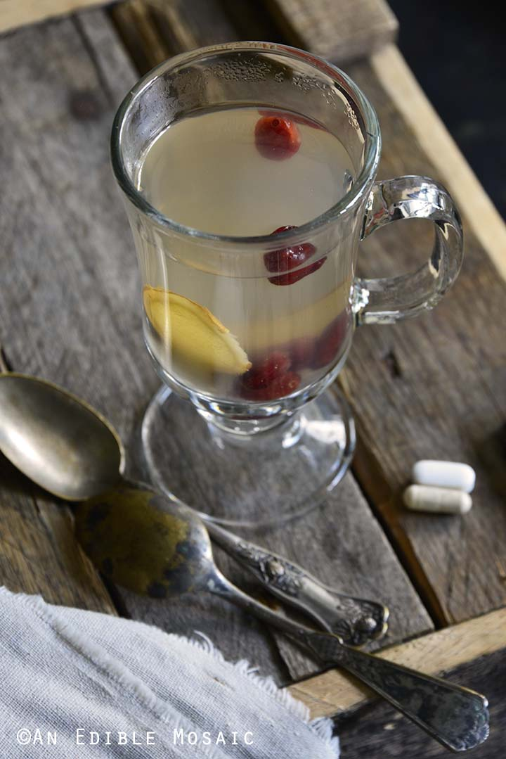 Honey-Apple Cranberry Ginger Tisane with Supplements