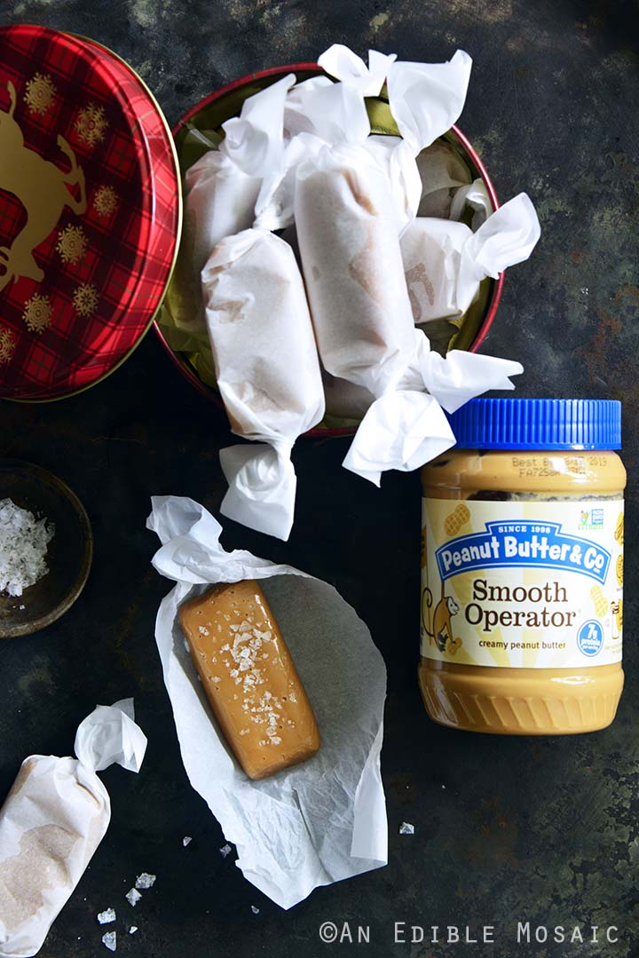 Soft and Chewy Peanut Butter Salted Caramels with Jar of Peanut Butter & Co.® Smooth Operator