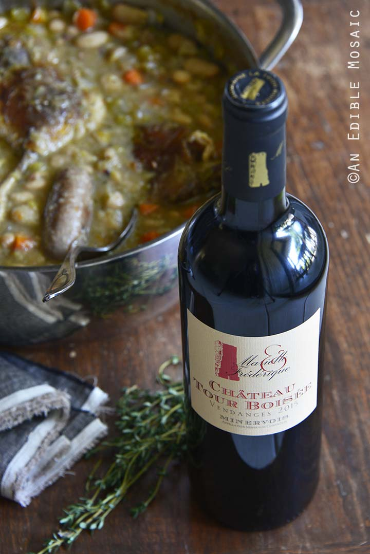 Pot of Cassoulet and Wine Front View