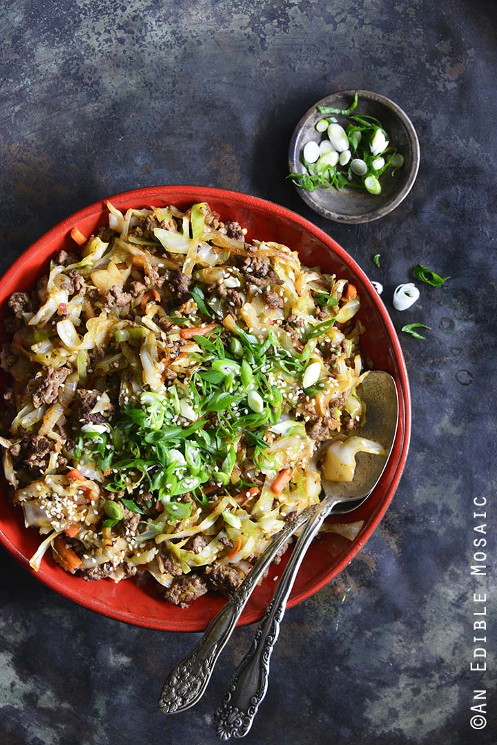 Low-Carb Crack Slaw (aka Egg Roll in a Bowl) on Metal Tray