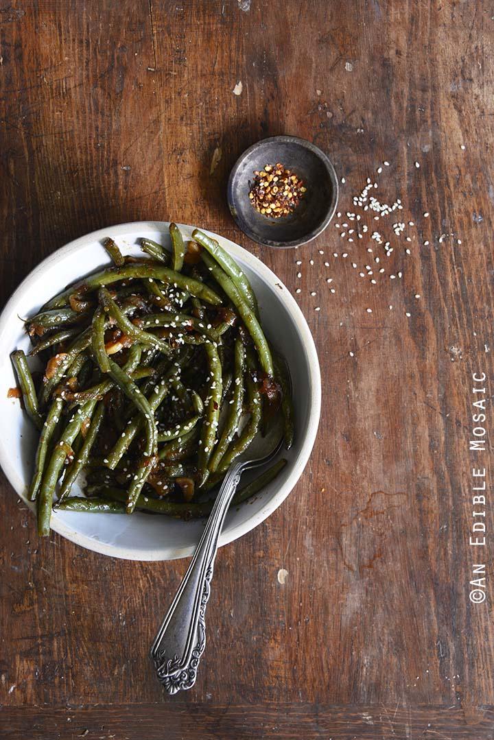 Teriyaki Green Beans on Wooden Table