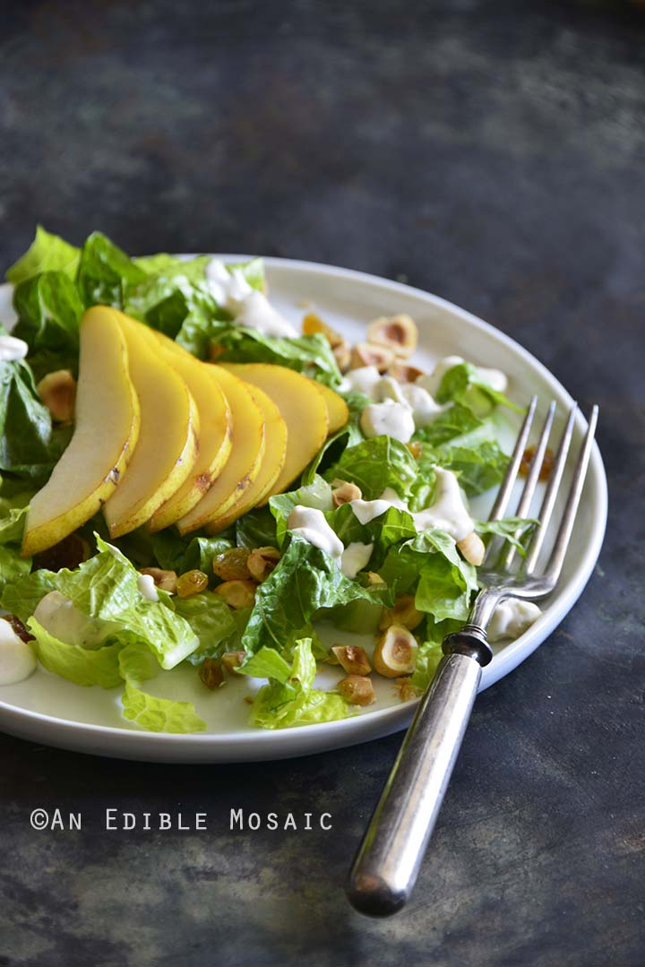 The Best Creamy Blue Cheese Dressing on Pear Hazelnut Salad Front View