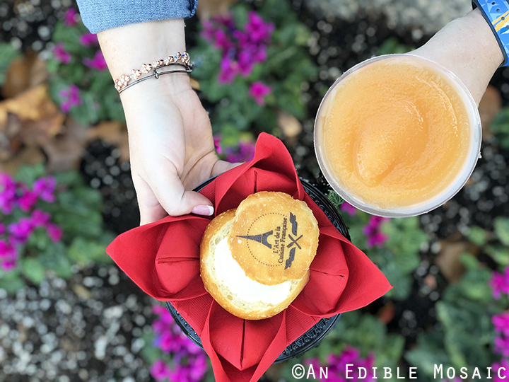 Warm Creamy Brie and Frose with Flowers in the Background at Epcot