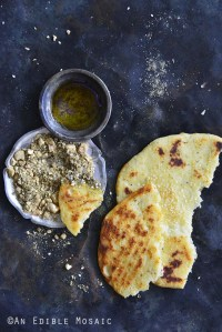 Dukkah Spice Mix with Flatbread and Olive Oil on Vintage Tray