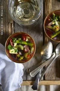 Roasted Asparagus Antipasta Salad on Wooden Surface with Vintage Spoons