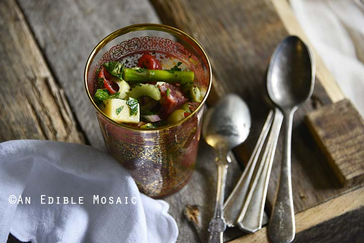 Close Up of Roasted Asparagus Antipasta Salad