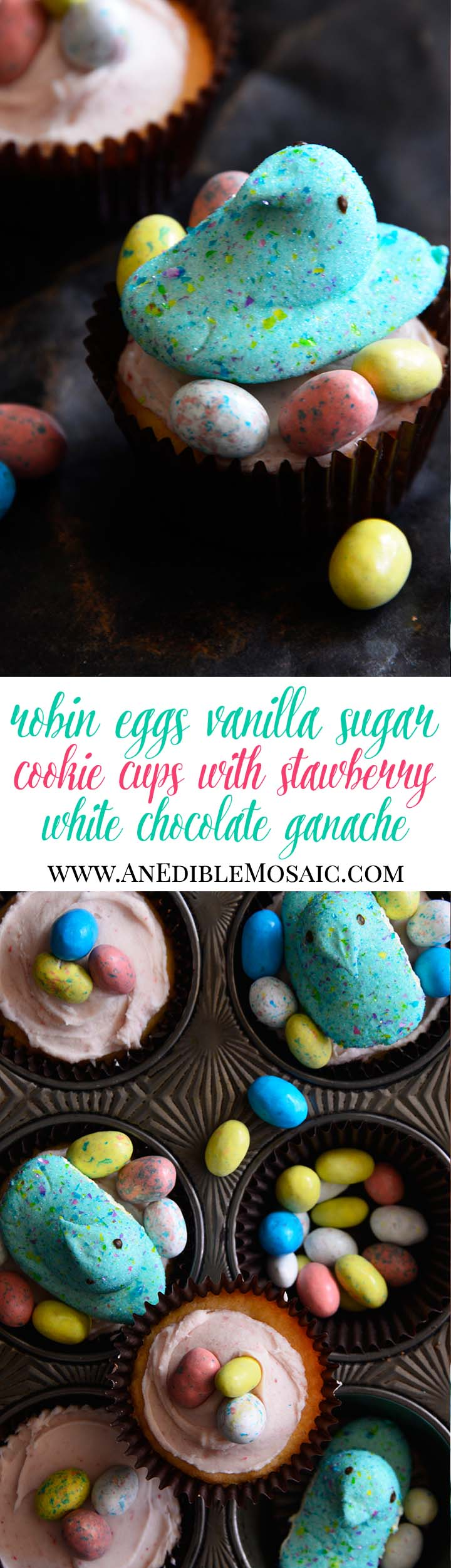 Robin Eggs Vanilla Sugar Cookie Cups with Strawberry White Chocolate Ganache Long Pin